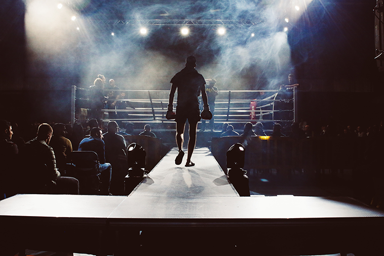 Boxer walking into the ring